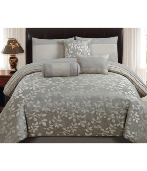 Platinum Leaves (Sterling) 7 pc Queen Comforter Set