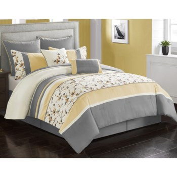 Pompeii Yellow 8pc Queen Comforter Set