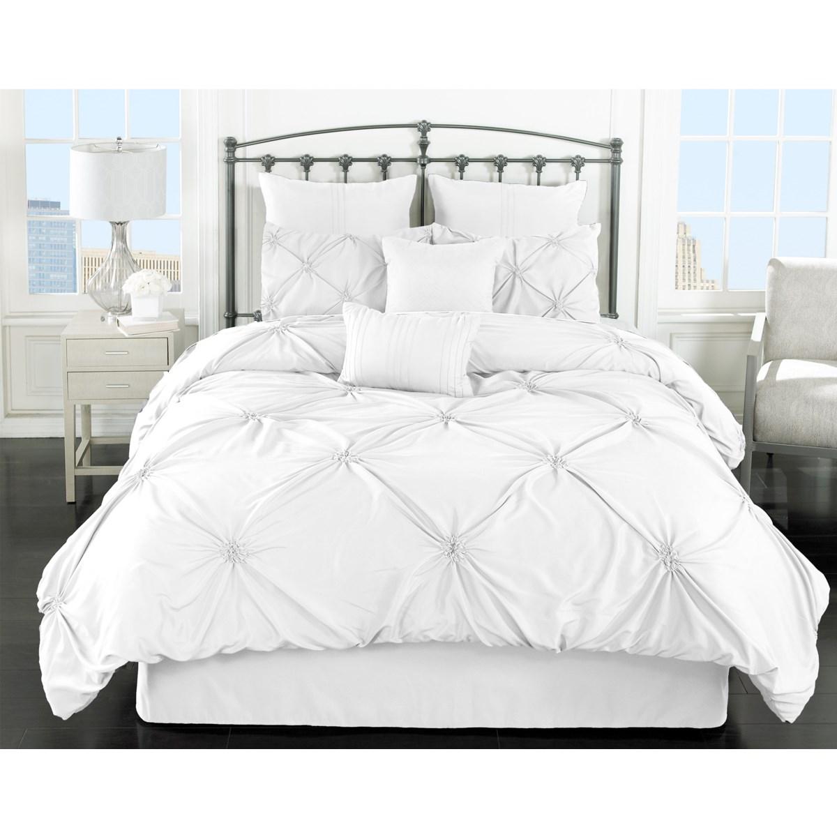 Lila White 8pc Queen Comforter Set