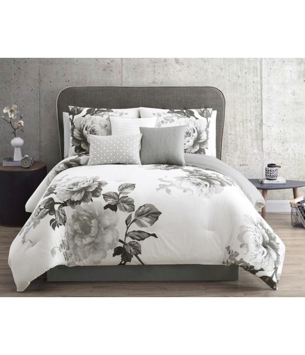 Rachel 7 pc Black/Grey Queen Comforter Set