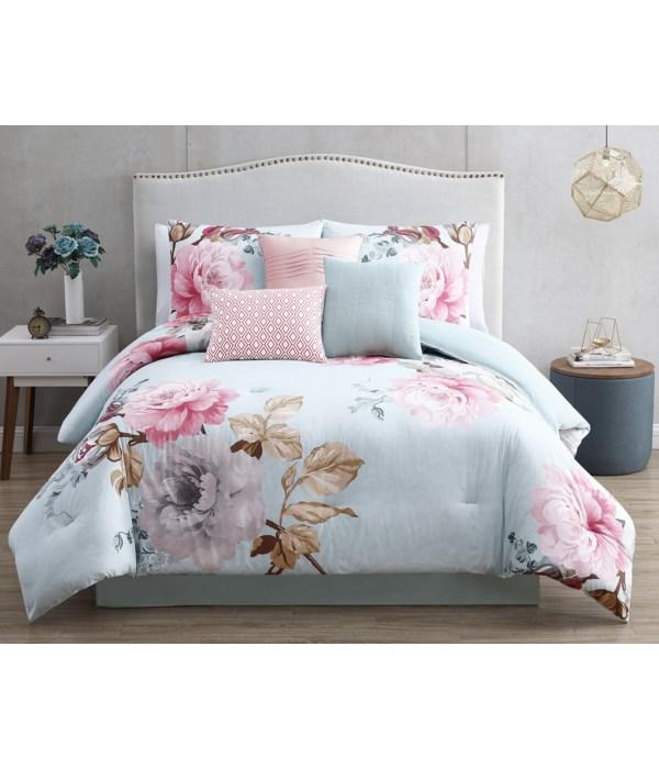 Rachel 7 pc Spa Queen Comforter Set