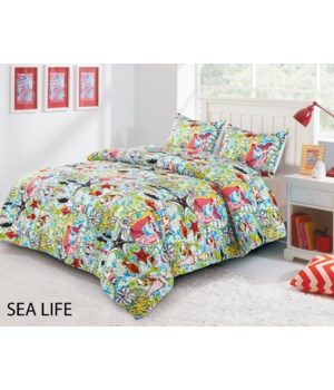 Sea Life 3 pc Twin Comforter Set