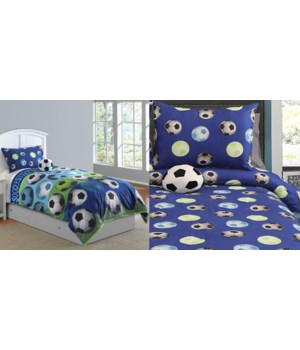 Soccer Blue 3 pc Twin Comforter Set