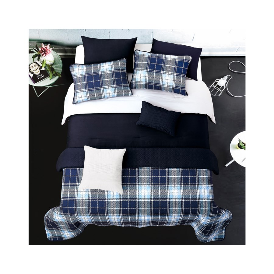 Steven Gray Navy 6pc Twin Layered Solid Comforter & Coverlet Set