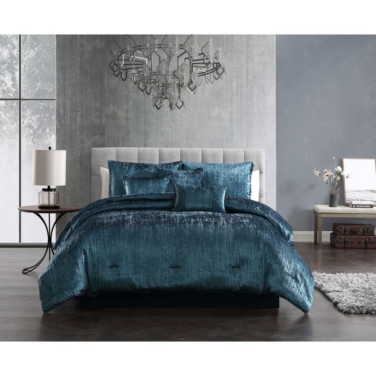 Taos Blue Crinkle Velvet 7PC King