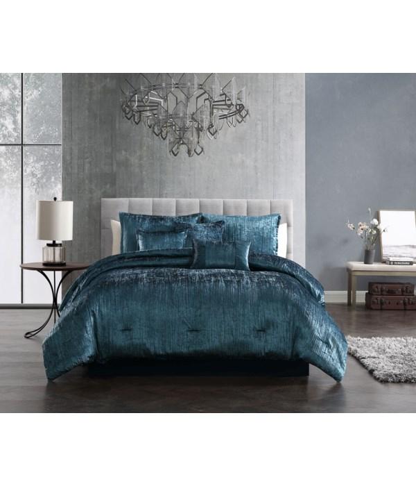 Taos Blue Crinkle Velvet 7PC Queen