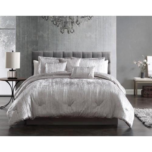 Taos Crinkle Silver Velvet 7PC Queen Comforter Set