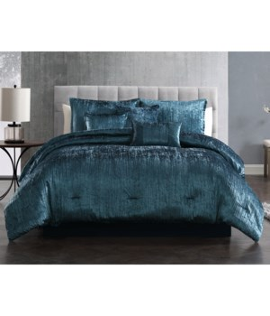 Taos Crinkle Blue Velvet 7PC Queen Comforter Set