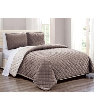 Velvet Coverlet Taupe 3 piece Full/QNSet