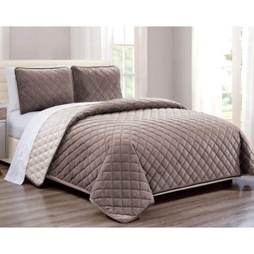 Velvet Coverlet Taupe 2 piece Twin Set