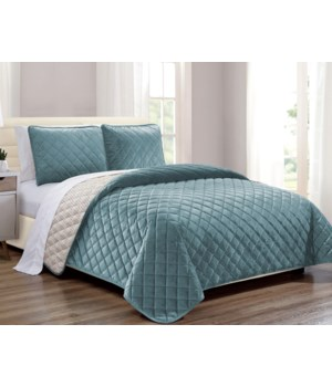 Velvet Coverlet Teal 2 piece Twin Set