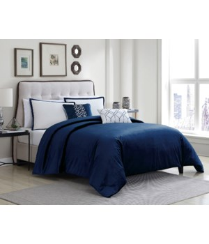Telluride Navy Velvet 6 pc Queen Comf. Cover Set
