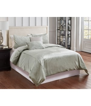 Telluride Sage Velvet 6 pc Queen Comf. Cover Set