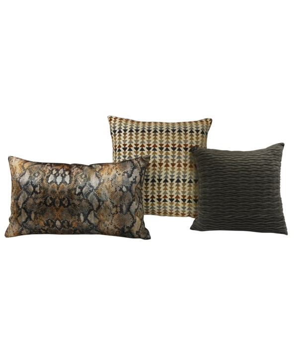 Thematic 3 pc Pillow Set  - Charcoal