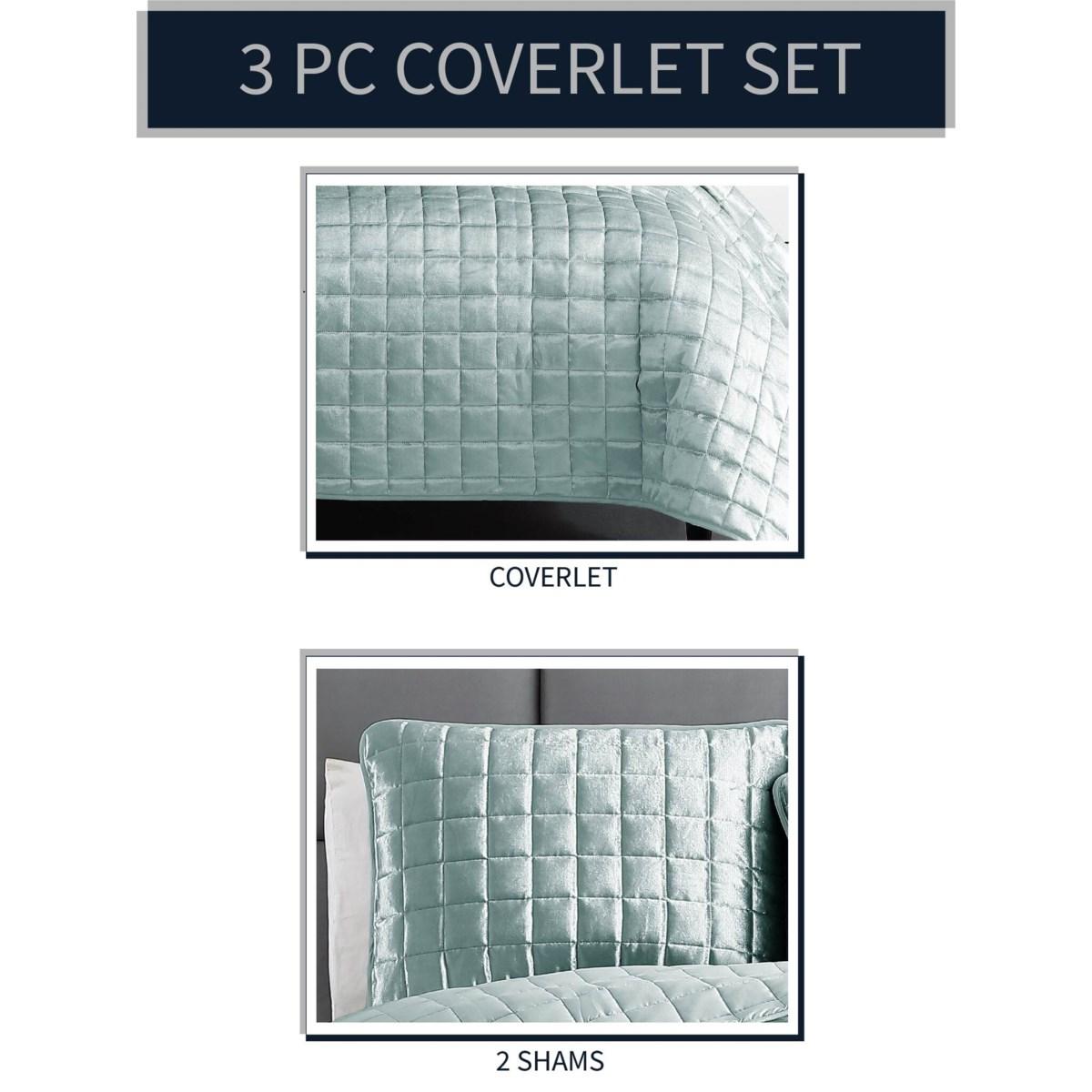 Luxe 3PC F/Q Seafoam Velvet Coverlet