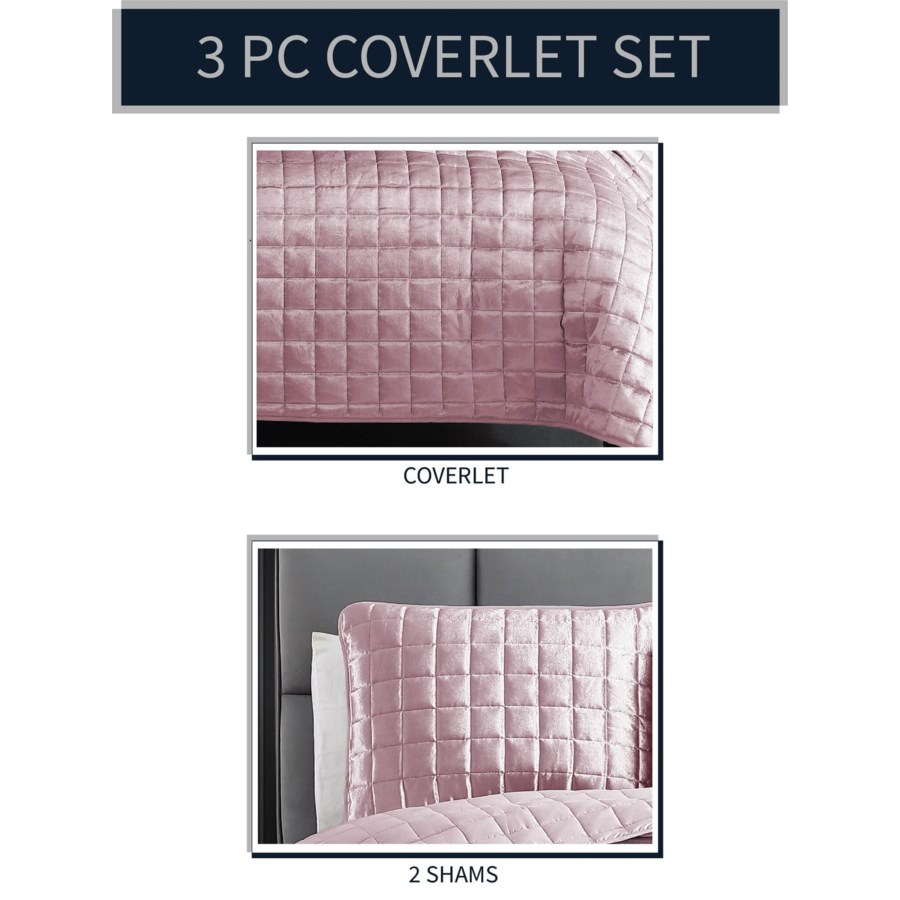 Luxe 3PC F/Q Blush Velvet Coverlet