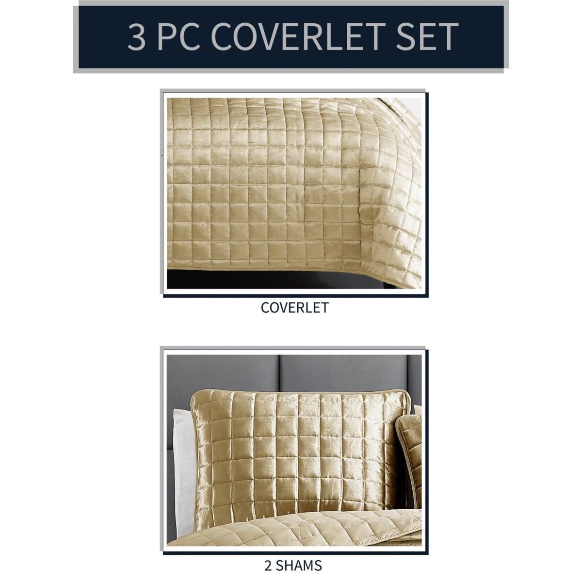 Luxe 3PC F/Q Gold Velvet Coverlet