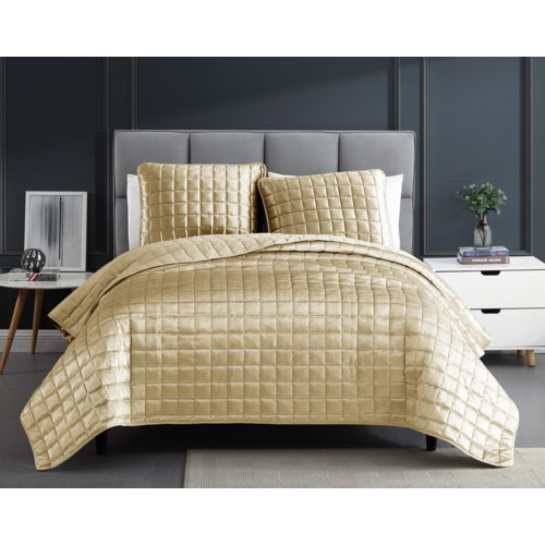 Luxe 3PC F/Q Gold Velvet Coverlet
