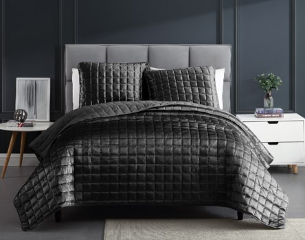 Luxe 3PC F/Q Graphite Velvet Coverlet