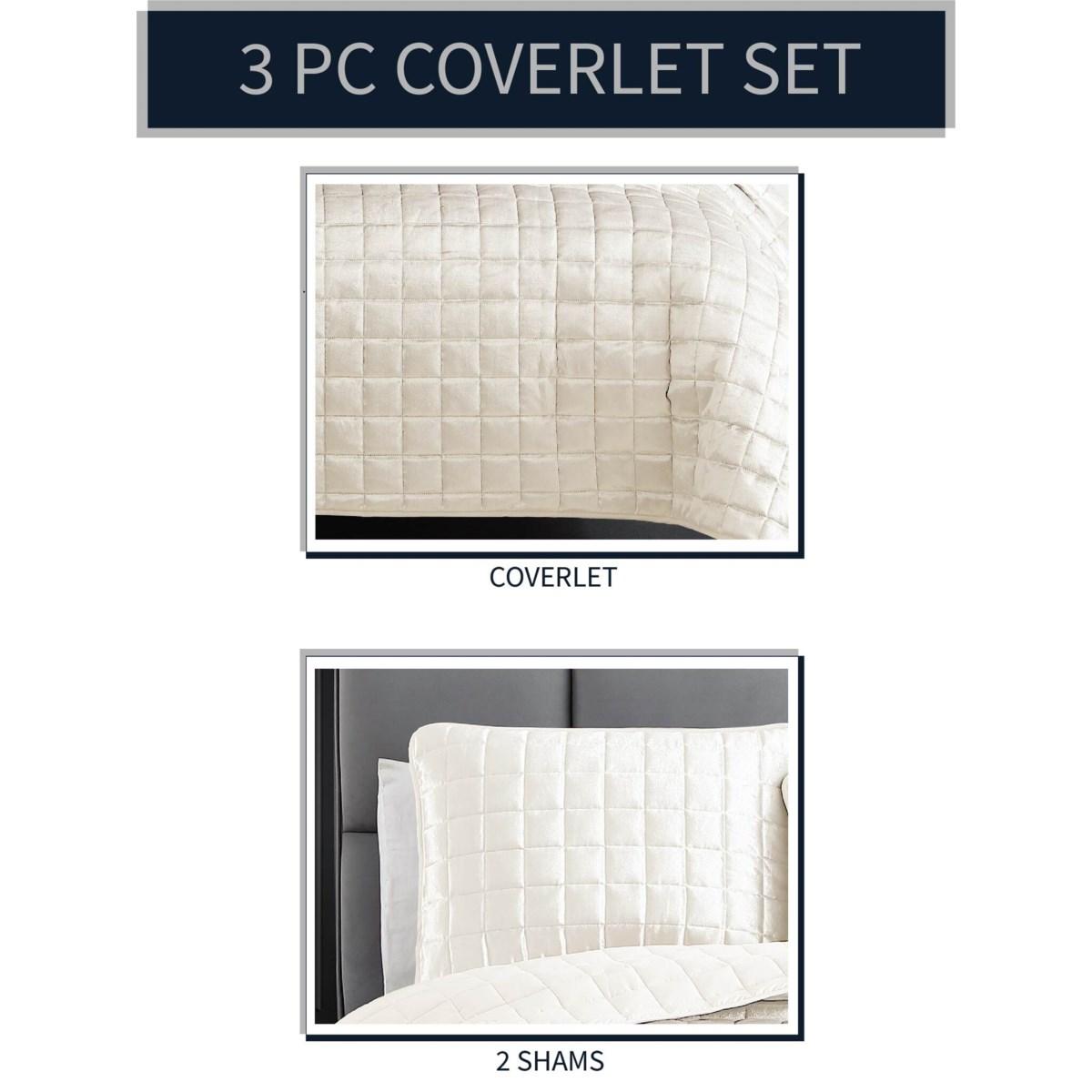 Luxe 3PC F/Q Dove White Velvet Coverlet