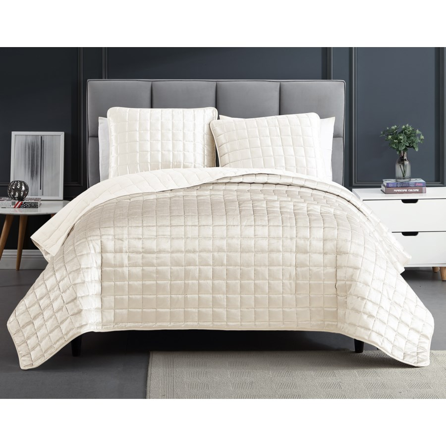 Luxe 3PC F/Q Dove White Velvet Coverlet