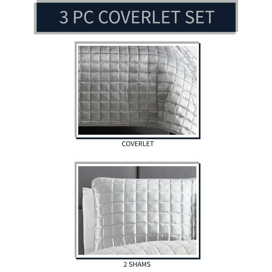 Luxe 3PC King Silver Velvet Coverlet