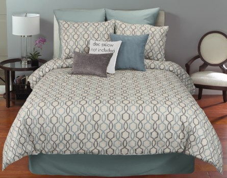 Whittier Blue 6 pc Queen Comf. Cover Set