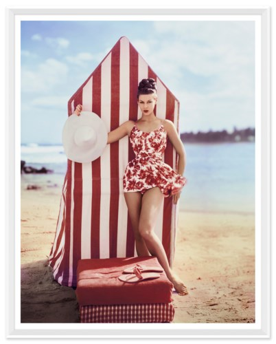 "Vogue Magazine, ""Model in front of Tent"", Louise Dahl-Wolfe, January 1959"