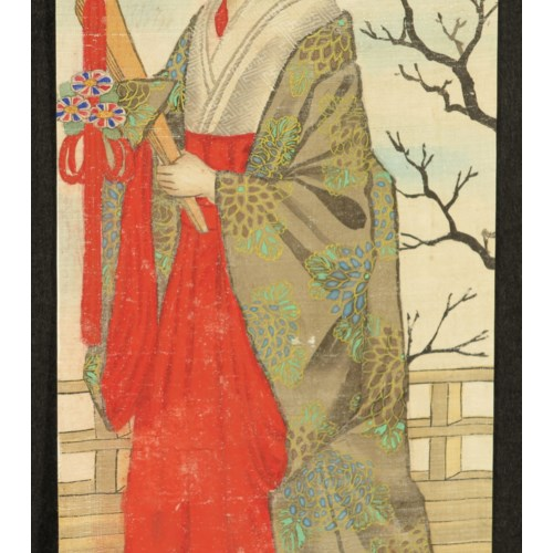 Hand-Painted Geisha on Silk Circa 1940s