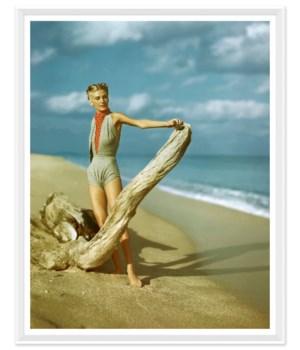 """Vogue Magazine, """"Model on Beach"""", Serge Balkin, Aril 1945"""