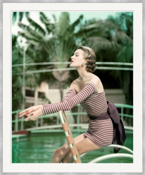 """Vogue Magazine, """"Model in a Long Sleeved Swimsuit"""", John Rawlings, May 1954"""