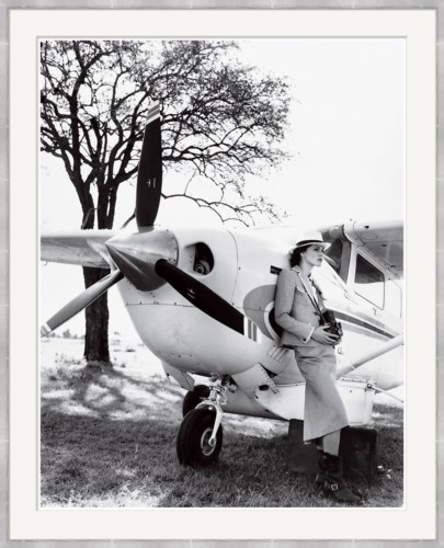 "Vogue Magazine, ""Keira Knightley Leaning on Plane"", Arthur Elgort, June 2007"