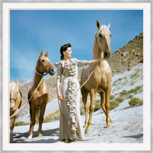 "Vogue Magazine, ""Model with Two Horses"", Luis Lemus, February 1941"