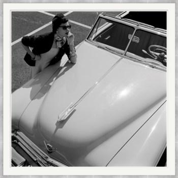 """Vogue Magazine, """"Model Stands Next to Car"""", Herbert Matter, May 1949"""