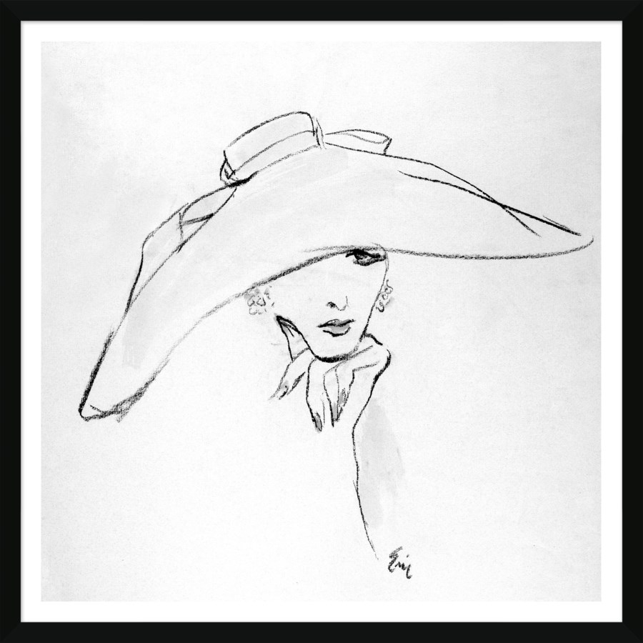Vogue Magazine Carl Erickson Fashion Illustration Pink Hat