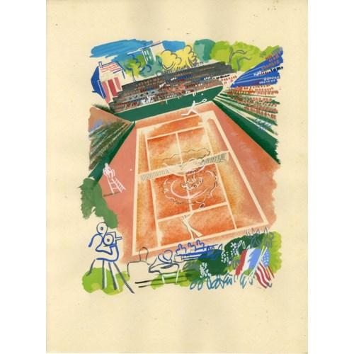 """Davis Cup 1930, Tilden V Cochet"" Original Sports Print From Croatian Artist Milivoj Uzelac"