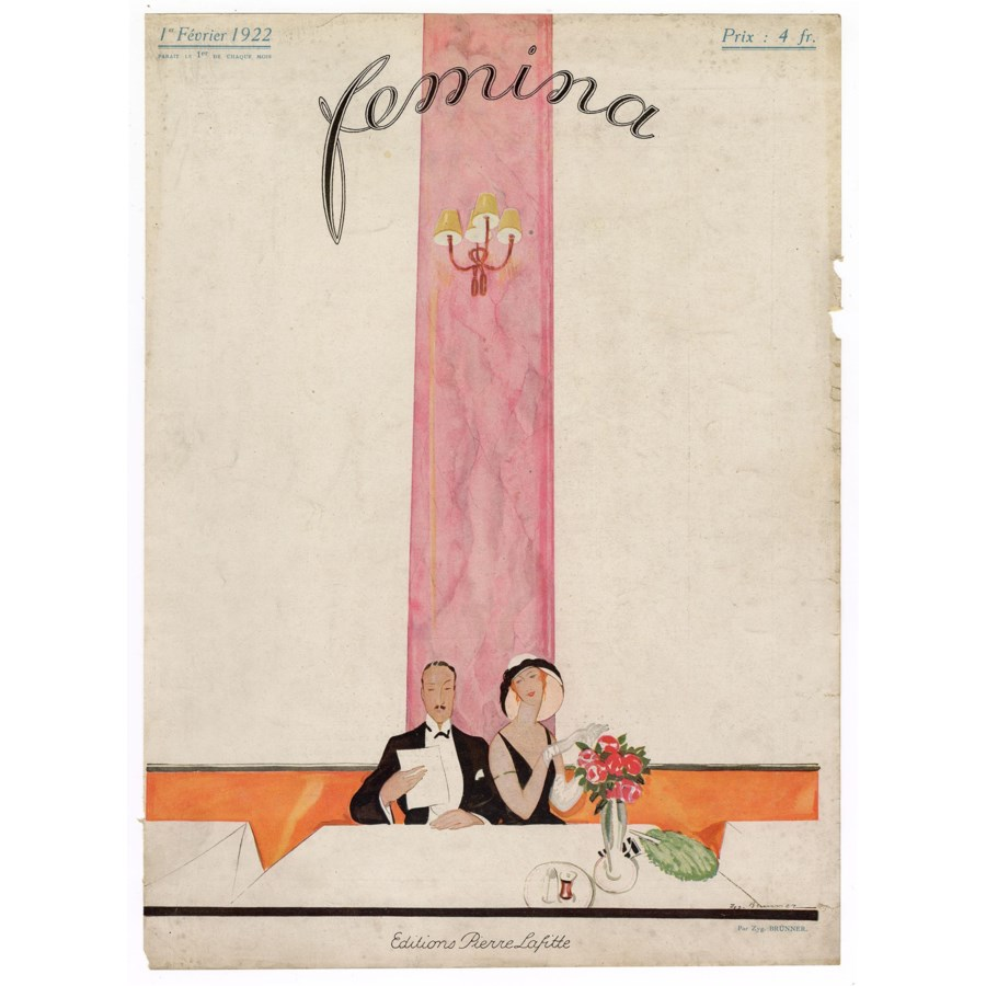"""Femina, February 1922"". Original French Fashion Magazine Cover"