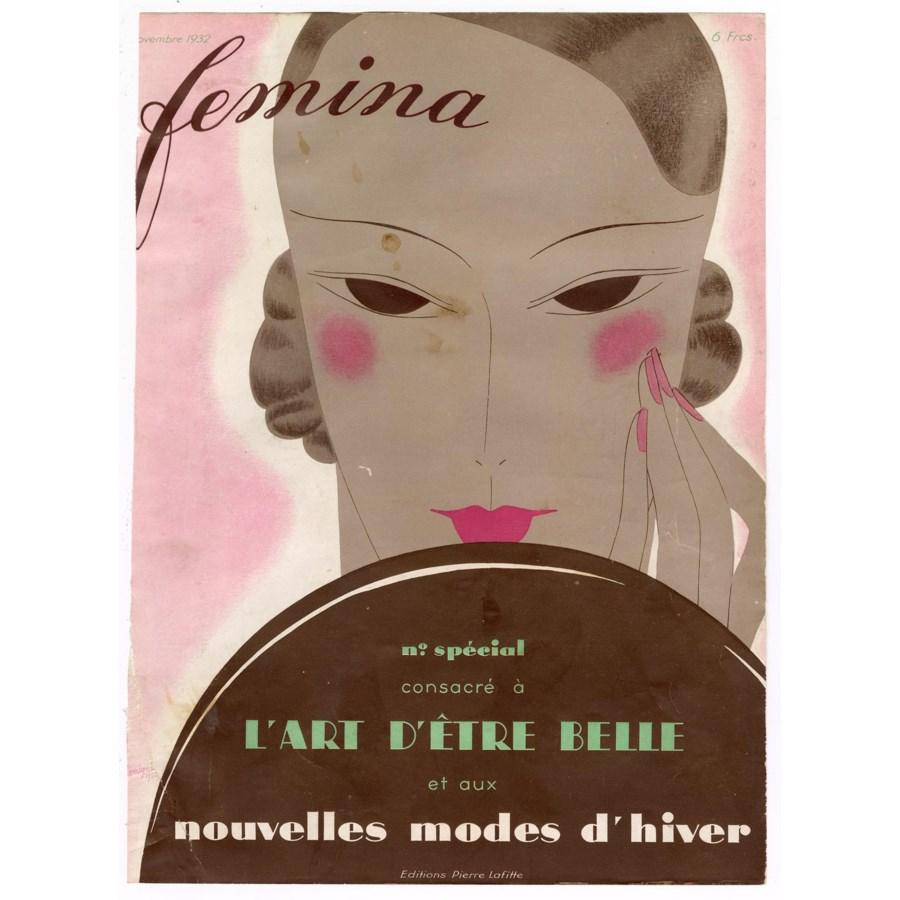 """Femina, Novembere 1932"" Original Vintage French Magazine Cover"