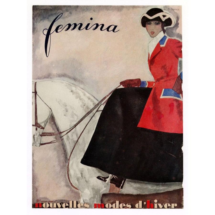 """Femina, November 1930"" Original Vintage French Magazine Cover"