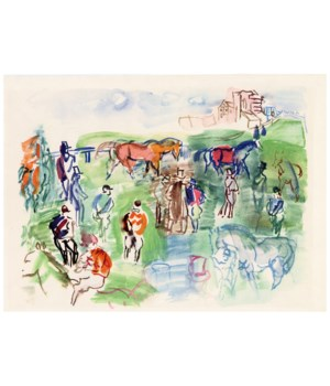 """""""Epsom"""", Original Lithograph by Raoul Dufy From """"Les Maitres Du Dessin"""" (1948)"""