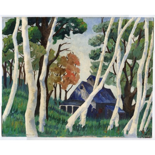 """""""Birch Trees"""" Vintage Oil Painting of a Cabin in the Woods"""