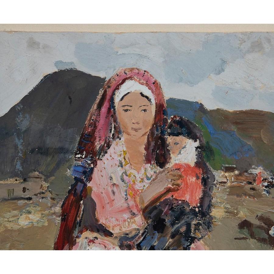 """Almi"" p.a. Radimov, Soviet Social Realism Oil Painting Circa 1943"