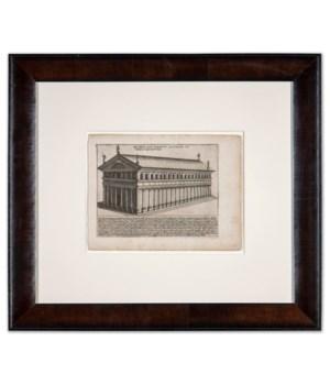 """""""Basilica Sive Porticus Antonini Pii"""" (Leaf 124). Original Copper Plate Engraving Circa 1625"""