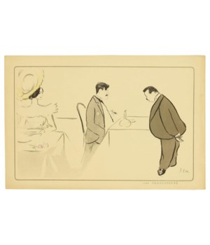 """""""Aux Ambassadeurs"""" Pochoir From a Caricature Drawing by Georges Goursat (Sem) Circa 1904"""