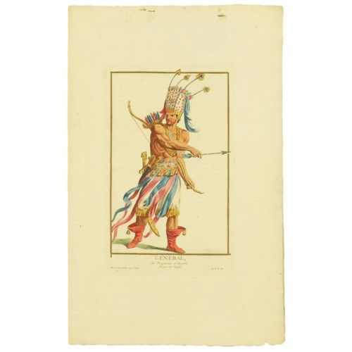 """""""General"""" Hand-Colored Copper Etching by Pierre Duflos Circa 1780"""