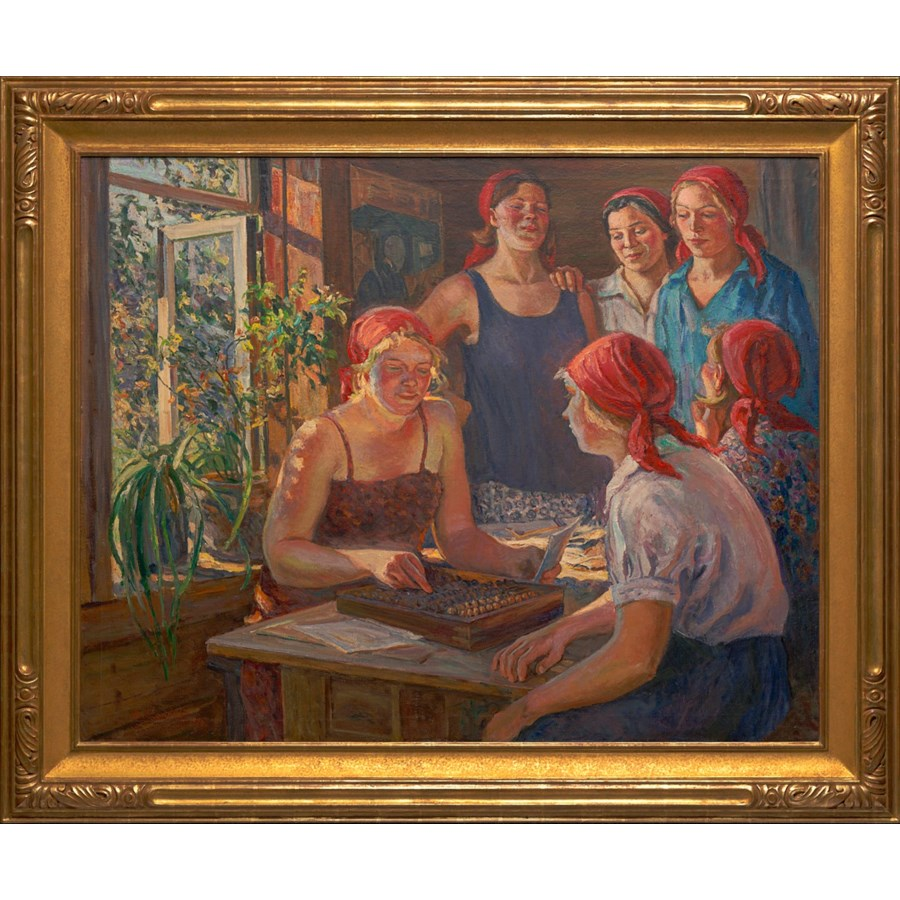 """At the Collective Farm Office"", Original Oil Painting by Aleksandr Moravov Circa 1936"