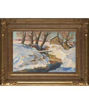 """Sauna"", Original Oil Painting by g.p. Sorogin Circa 1954"