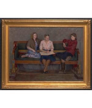 """Three Girlfriends"", Original Oil Painting by Evgeni Krylov Circa 1951"