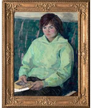 """Portrait of My Daughter"" Original Oil Painting by Engels Kozlov Circa 1963"