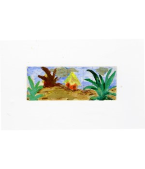 """""""Tropics"""" Pair of Small Gouache Paintings on Paper Circa 1954"""